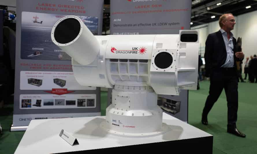 Laser directed weapon system at the DSEI arms trade fair, London 2019