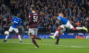 Alfredo Morelos (right) scores his second, and Rangers' third, goal against Hearts.