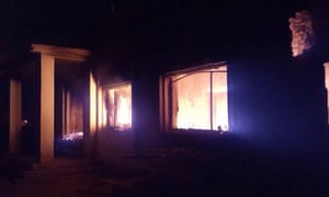 The Doctors Without Borders trauma center in flames.