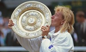 Martina Navratilova after defeating Zina Garrison in the 1990 Wimbledon final.