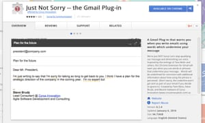 Just Not Sorry Gmail plug-in from Cyrus innovation