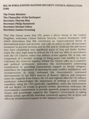 The government motion on military action against Isis in Syria