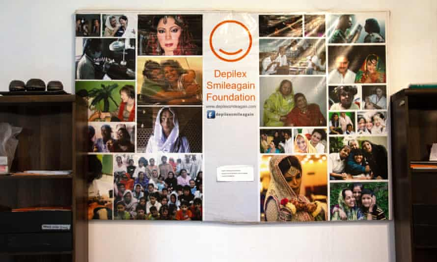 A poster of acid attack survivors in the Depilex Smilegain Foundation in Lahore.