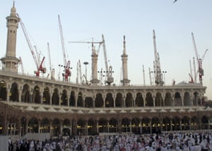 Construction cranes surround the Grand Mosque in the holy city of Mecca.