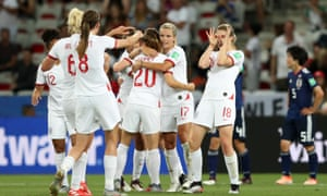 Ellen White (No 18) celebrates with her England teammates after scoring her second goal in Nice.