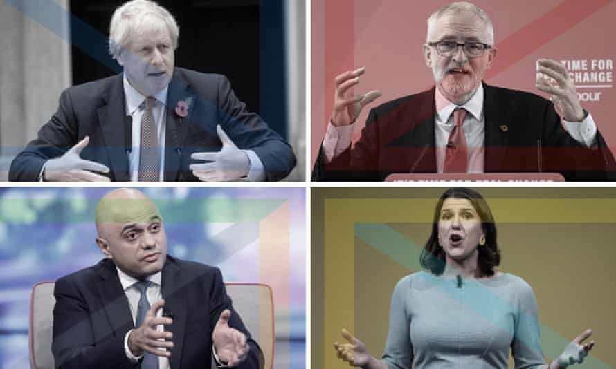 Clockwise from top left: Boris Johnson, Jeremy Corbyn, Jo Swinson and Sajid Javid.