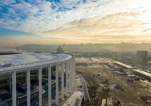 An elevated view of Nizhny Novgorod Stadium.