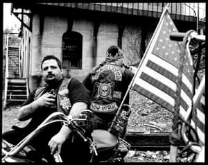 """Joey, New York, 2003 (from series Bikers)""""Mike and Joey are old family friends and the guys that introduced me to their world. They are the brothers who let me in and this series was the beginning of Outside of Life. The first shot I took was of Joey, that was literally frame number one of the entire project. These guys are the last of the modern pirates."""""""