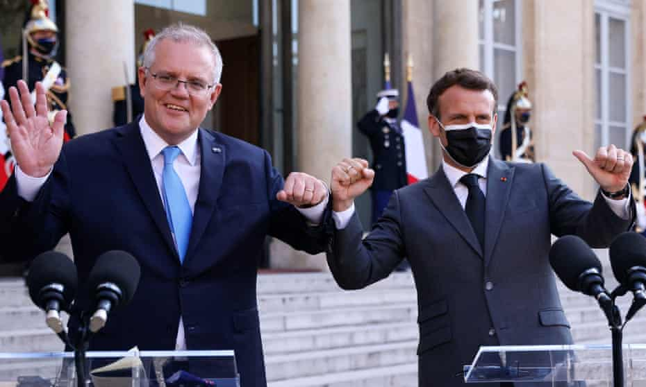 Prime minister Scott Morrison and French president Emmanuel Macron at the Elysee Palace in June