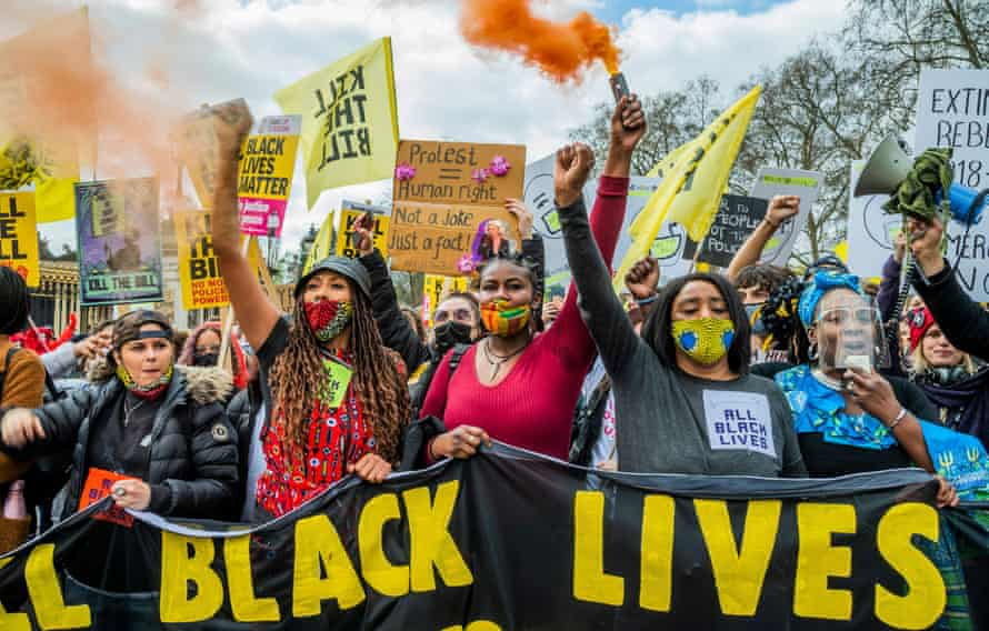 Kill the Bill protest by people angry at new legislation called the Police, Crime, Sentencing and Courts Bill in London last month.. The protest was supported by several groups including Extinction Rebellion and Black Lives Matter