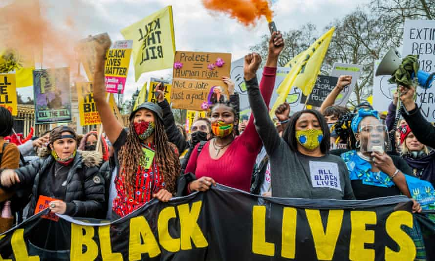 BLM protesters at a demonstration against the police, crime, sentencing and courts bill, Westminster, London, 3 April 2021.