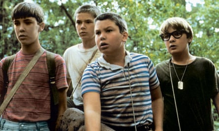Wil Wheaton, River Phoenix, Jerry O'Connell and Corey Feldman in Stand By Me