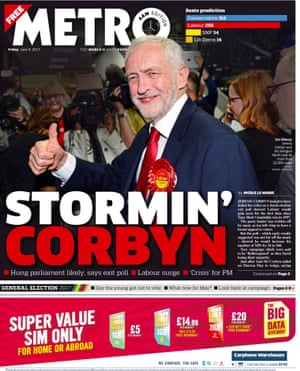Metro front page election special final edition 9 June