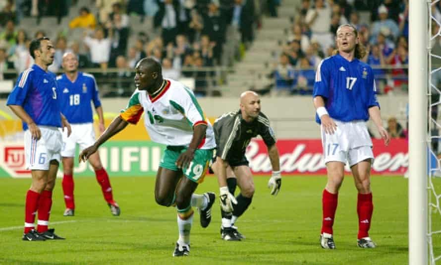 Senegal's Papa Bouba Diop reels away in celebration after scoring the winner in the 1-0 victory over defending champions France at the 2002 World Cup