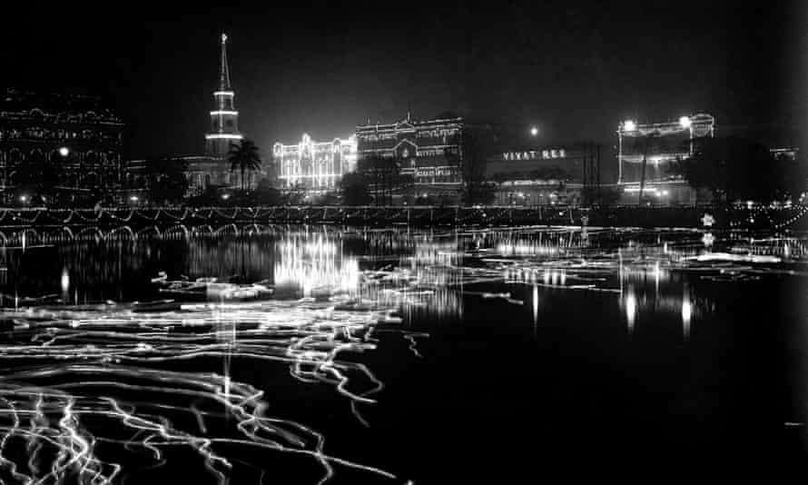 Calcutta in 1912, illuminated for the occasion of a British royal visit.