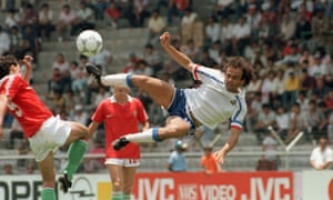 Michel Platini in happier times, playing for France against Hungary during Mexico 86.