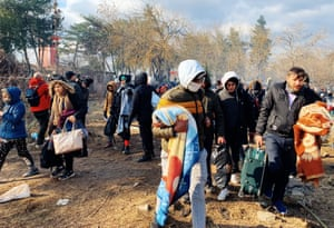 Refugees and migrants on Turkey's border with Greece.