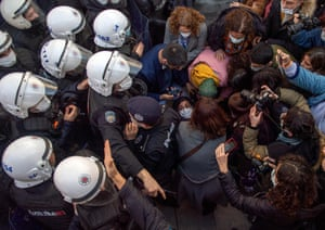 Police officers detain protestors during a rally in support of Bogazici University students protesting against the appointment of Melih Bulu, a ruling Justice and Development Party loyalist, as the new rector of the university.