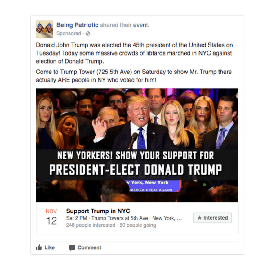 """Some ads promoted events, including this one referring to anti-Trump protesters as """"libtards""""."""