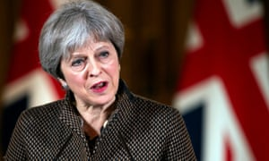 Theresa May addresses the media during a press conference, following the military action in Syria.