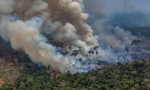 Record Number Of Fires Torch Brazil's Amazon Forest<br>PORTO VELHO, RONDONIA, BRAZIL - AUGUST 25: In this aerial image, A fire burns in a section of the Amazon rain forest on August 25, 2019 in Porto Velho, Brazil. According to INPE, Brazil's National Institute of Space Research, the number of fires detected by satellite in the Amazon region this month is the highest since 2010. (Photo by Victor Moriyama/Getty Images)
