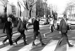 Crossing Abbey Road with Matt Goss, George Martin, Richard Branson and Kenneth Baker in 1989.