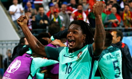 Renato Sanches and his Portugal teammates celebrate after Ricardo Quaresma's winning goal against Croatia. They will play Poland for a place in the semi-finals.