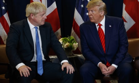 Boris Johnson and Donald Trump at the UN general assembly in New York, September 2019.