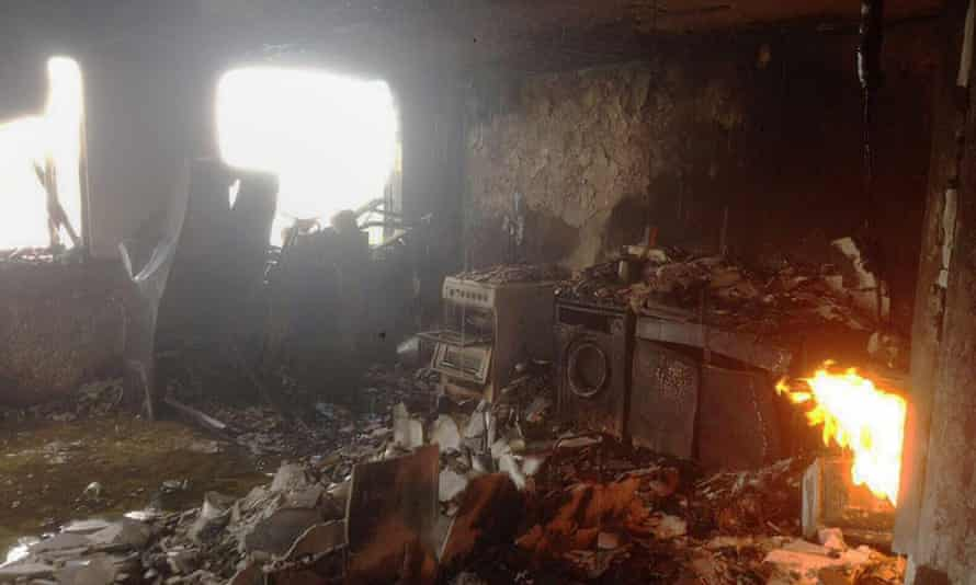 The interior of one of the flats in Grenfell Tower.