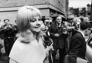 Mandy Rice-Davies arrives at Marylebone magistrates court in London for the opening of the Dr Stephen Ward case on 28 June 1963