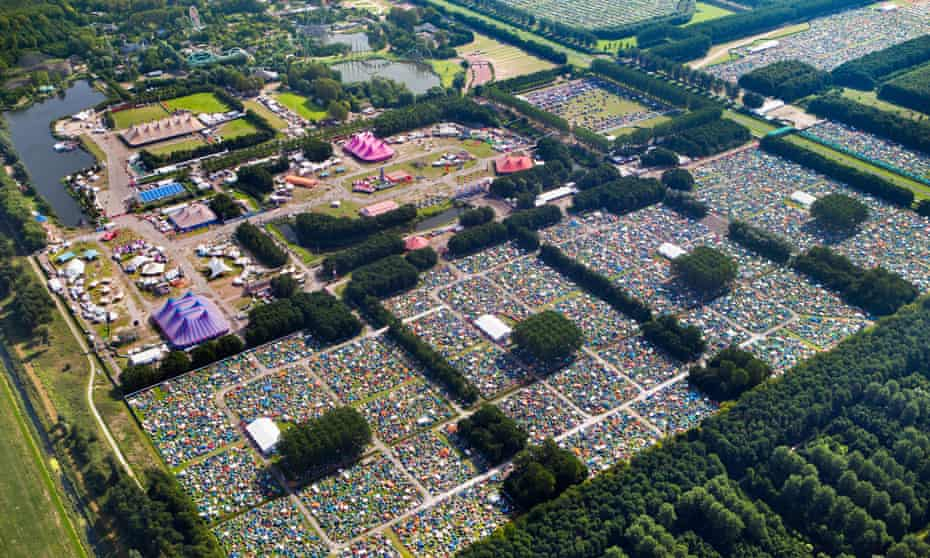 Aerial view of crowds at the Lowlands music festival near Biddinghuizen, the Netherlands.