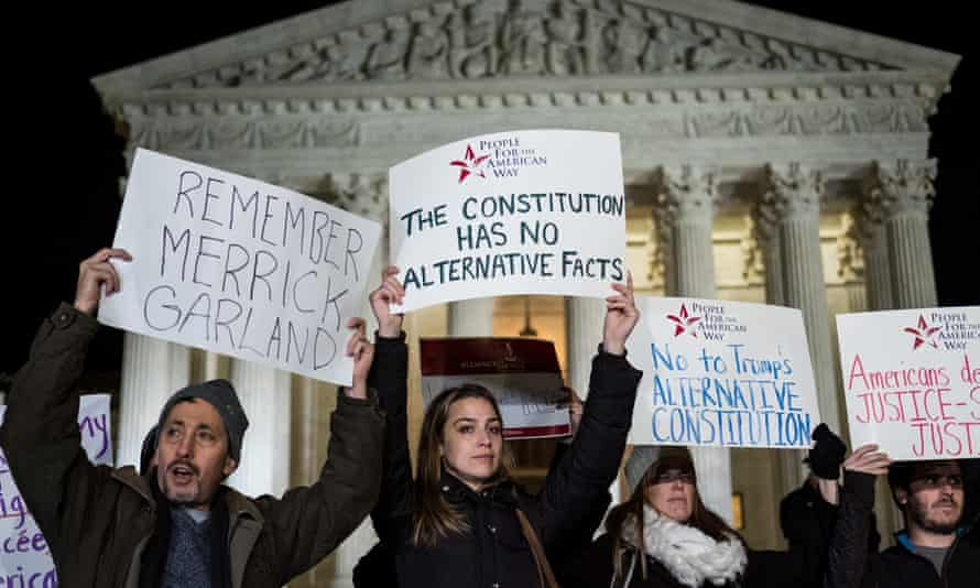 Protestors gather outside of the supreme court after Trump's announcement.