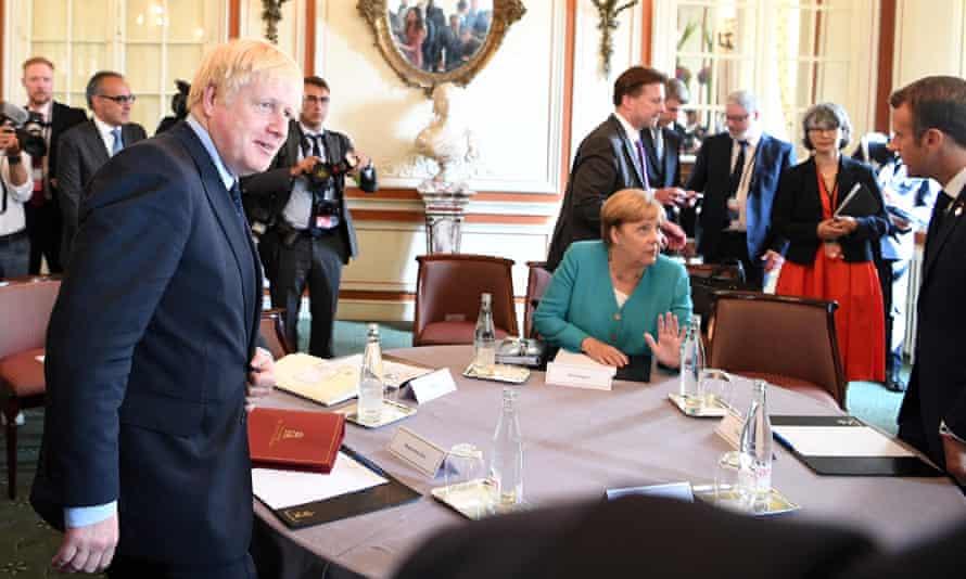 Boris Johnson, Angela Merkel and Emmanuel Macron at the G7 summit, in Biarritz, this weekend