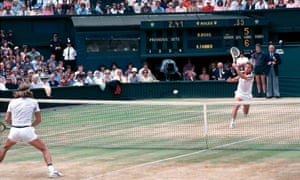Roscoe Tanner powers his way to the net in the 1979 Wimbledon Men's Final against Bjorn Borg