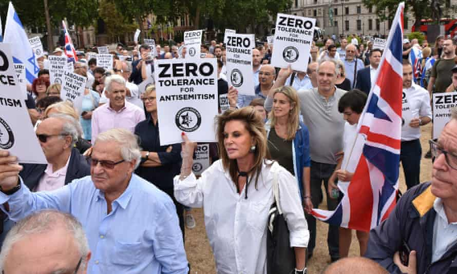 Labour antisemitism protest, London, UK. Jews in Europe found almost a third avoid attending events or visiting Jewish sites because they do not feel safe.