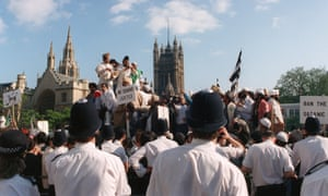 Muslims protest against the publication of Salman Rushdie's Satanic Verses in Westminster, London, 1989.