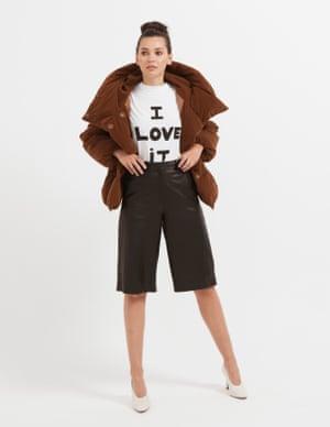 model wears padded jacket, £89, warehouse.com. T-shirt, £95, bellafreud.com. Leather culottes, £225, arket.com. Heels, £89, stories.com
