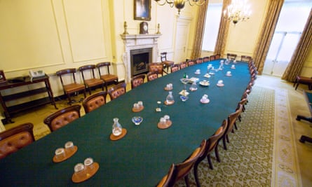 empty cabinet table at No 10 Downing Street