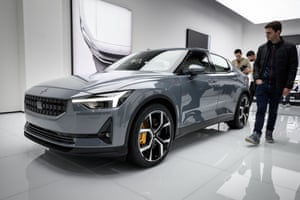 The Polestar 2 electric car, which sets out to compete with Tesla's model 3. It is all-electric car with 4WD and a 311-mile range.