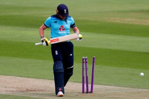 England's Jonny Bairstow reacts after being bowled by Ireland's Mark Adair.