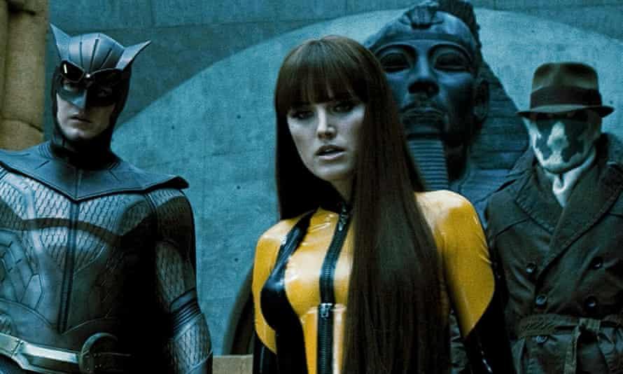From left: Patrick Wilson as Nite Owl II, Malin Akerman as Silk Spectre II and Jackie Earle Haley as Rorschach in Zack Snyder's 2009 film Watchmen.