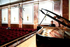 Pianist Stephen Hough on 1 June 2020 in an empty Wigmore Hall ahead of the first of its 20 concerts broadcast and streamed live every weekday in June.