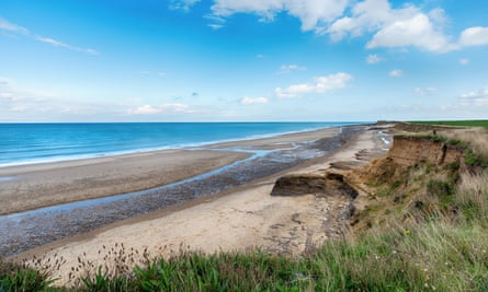 Happisburgh beach and eroding cliffs.