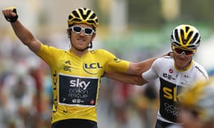 Geraint Thomas celebrates with Chris Froome after winning the Tour de France.