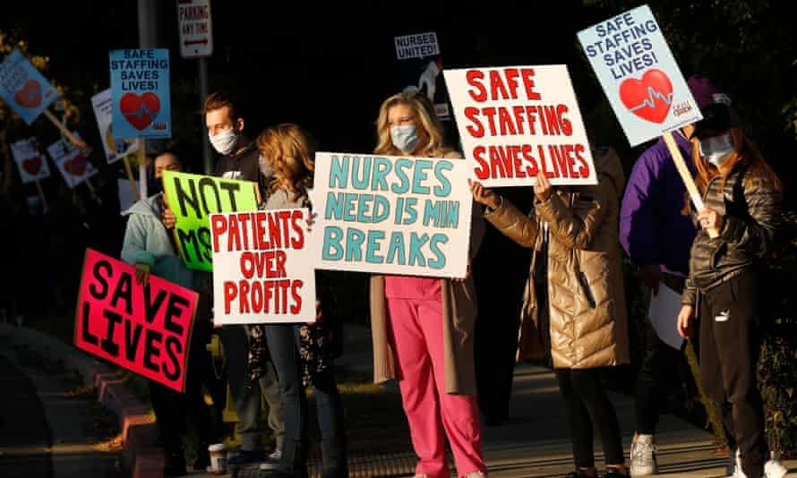 Nurses and medical professionals at Los Robles Regional medical center picket in California in November 2020.