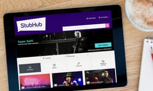 The StubHub website displayed on a tablet device.