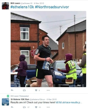 William Owen, who claimed he had suffered whiplash but then tweeted his 7th ranking in a 10km race. Sent by fraud department of Aviva.