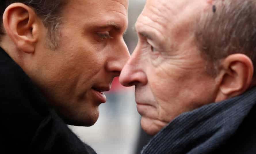 Emmanuel Macron, the French president, with the interior minister, Gérard Collomb