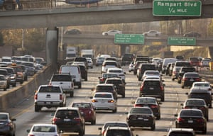 Traffic moves on the Hollywood Freeway in Los Angeles in December, 2018.