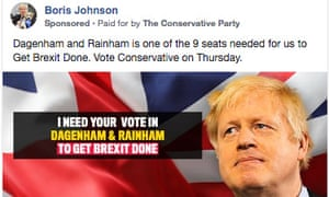 "Conservative ad telling voters they are in ""one of 9 constituencies"" required to get Brexit done"